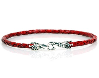4mm Braided Leather Bracelet Sterling Silver 925 Clasp Handmade
