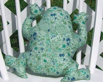Frog Pillow Sage Blue Floral Toy Stuffed Animal OOAK