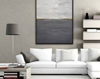 Large Original Painting Modern Contemporary Art Landscape 30 x 40 Abstract Handmade Gray Wall Art Acrylic Painting by Sky Whitman
