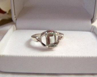 Altered Sterling Ring Authentic Vintage Vargas Hallmarked Genuine Prasiolite Gemstone Engagement Fancy Emerald Cut