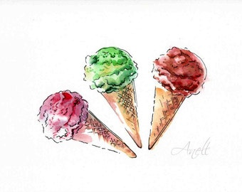 Ice cream watercolor Print - Watercolor Painting - Wall Decor - Poster Giclee wall print - Home Wall decor - Baby nursery print
