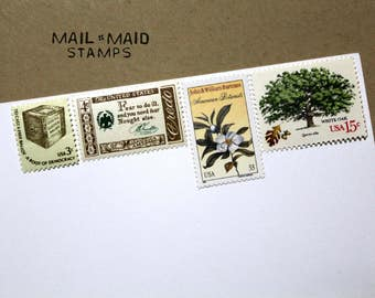 Trees at sunset || Set of unused vintage stamps to mail 5 standard letters
