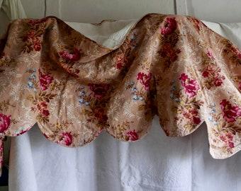 Antique Pelmet Valance Vintage French Fabric Panel 1800s Textiles, Decorative Antiques Home Decor 5.8 yd