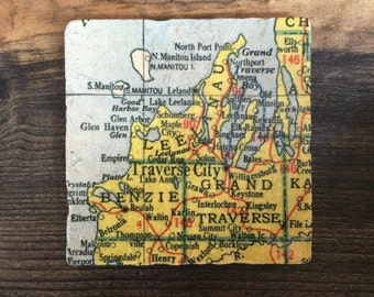Traverse City Michigan Map Coaster with cork backing Leelanau Manitou Sleeping Bear Dunes Glen Haven Suttons Bay Elk Rapids Cherry Fest