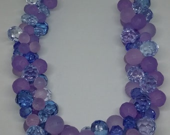 Blue and Purple Cluster Necklace