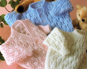 Baby Knitting Pattern pdf Double Knit Cardigans and Sweater