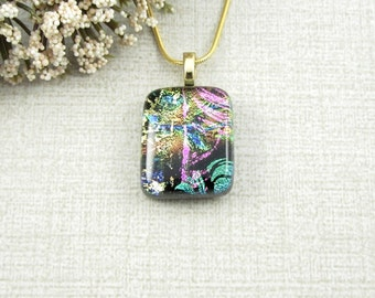 Petite Multi-Colored Fused Dichroic Pendant - Pink, Green, Blue and Gold Multi Layered Fused Glass Necklace - Fused Glass Jewelry