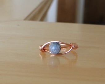 Single Green Bead Copper Wire Wrapped Ring