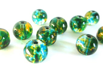 20 blue green beads and rust drawbench translucent glass 6mm
