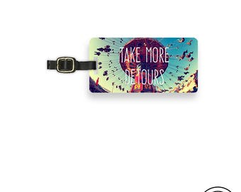 Luggage Tag  Take More Detours Vintage Carnival Swing Ride with Personalized Backs  - Single Tag
