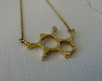 Coffee Molecule Charm Necklace