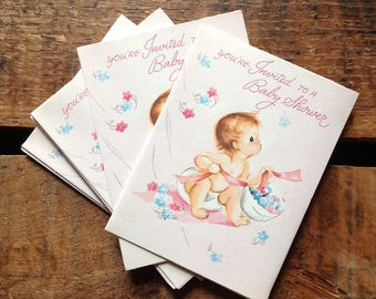 Vintage Baby Shower Invitations - Set of 12 - Vintage Cards, Vintage Invitations, Vintage Baby Cards, New Baby Girl Cards, Vintage Baby Girl