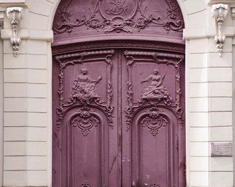 Paris Photo - Purple Door, Parisian Architecture Fine Art Photograph, Home Decor, Large Wall Art