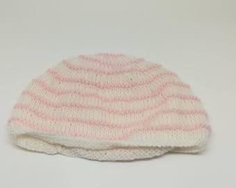 Pink and white newborn Hat / / newborn Hat / / baby baby Hat