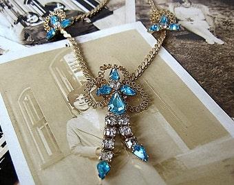 Vintage Rhinestone And Gold Pendant Necklace / Aqua and Clear Rhinestone Choker / Gold Filigree Pendant / 1940's Costume Jewelry