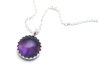 Amethyst Necklace in Silver, Necklace Under 25, Gift for Her, Amethyst Pendant, Purple Necklace, Purple Gemstone Necklace