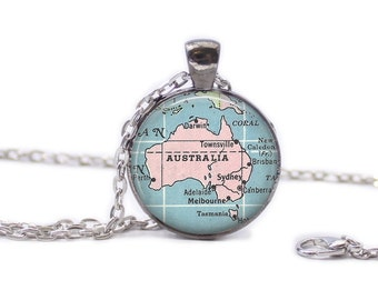 Australia Map Pendant Map Necklace Map Jewelry Map of Australia Necklace