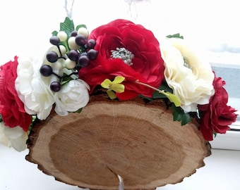 Burgundy  White Flower Crown. Blush flower crown. Burgundy flower crown. Burgundy headpiece. White Red flower crown. Red floral crown. Boho