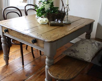 Vintage Pine Bench Seat with Base in Pastille Grey