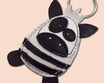 Sweet Little Zebra Leather Animal Keychain - FREE shipping Worldwide - Handmade Leather Zebra Bag Charm