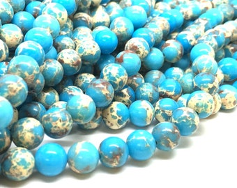 Blue sediment jasper, 6mm, 8mm, 10mm round, full strand