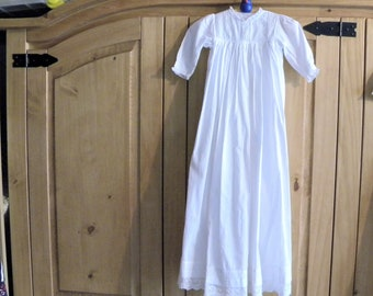 Edwardian Christening Gown - Fine White Cotton Baptism Robe - Antique Dress for Doll or Bear