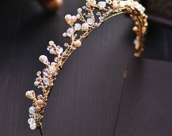 Gold Tiara Hair Accessory Pearl Wedding Prom Crown