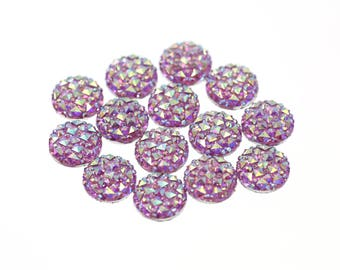 12mm Unicorn Color Iridescent Rainbow Faux Druzy Crystal Clusters Cabochons Small DIAMOND Nuggets