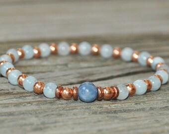 Aries Energy, Kyanite Bracelet, Aqumarine Bracelet, Aries Zodiac, Mala Bracelet, Yoga Bracelet, Meditation Bracelet, Energy Bracelet, Copper