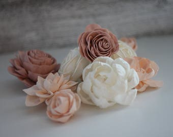 SAMPLE - Shabby Chic Loose Flowers - Wooden Flowers - Shabby Chic Wedding Collection - Pink and Blush - Custom Colors - Made to Order