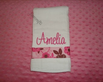 Amelia Personalized Burp Custom Burp Cloth  - Name or up to 3 initials