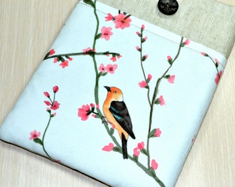 ipad mini 4 Sleeve, ipad mini retina , ipad mini,  iPad mini 3 Case, Handmade Padded, iPad mini 3 Sleeve with Pocket- Bird