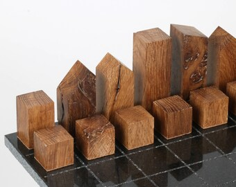 Handmade 'Metropolis' Chess Set - 02. A minimalist design, made by hand with reclaimed and up-cycled timber & birch plywood.