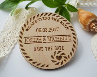Tying the knot save the date, Tie the knot wooden Invitation, Wedding save the date, Magnet save the date, Invitation magnet, wooden magnet