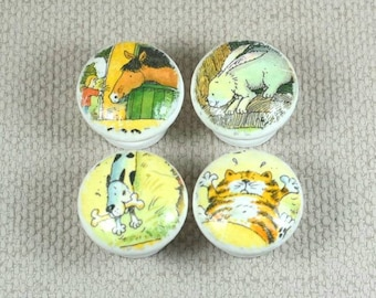 Pets Handpainted Knobs, Wooden Knobs, Drawer Handles, Dresser Knobs, 3.5cm dia. Sets Available. Free Gift Wrapping!
