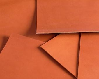 Veg Tan Full Grain Leather PIECES 3.2 - 3.5mm thick - Cognac 42x30cm / FianoLeather