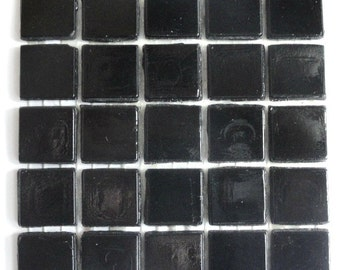 "ON SALE 15mm (3/5"") Opaque Black Glass Mosaic Tiles//Mosaic Supplies//Mosaic//Mosaic Supplies//Crafts"