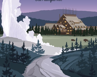 See the amazing Yellowstone National Park - Old Faithful Inn -  Vintage Style Travel Poster