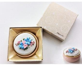 Vintage Genuine Alabaster Trinket Box Jewelry Box Ring Box