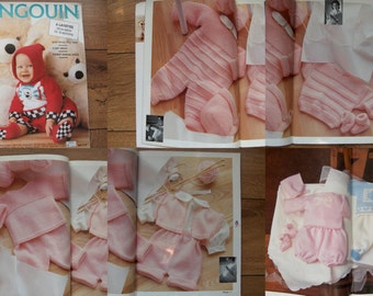 pingouin 117 Baby infants knitting patterns 6 layettes birth to 18 months - smiling cheshire cats, soldiers on parade, bear cubs