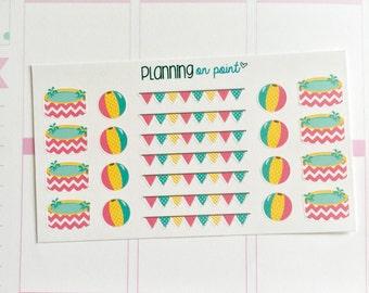 Pool Day Banner Planner Stickers (fits Erin Condren)