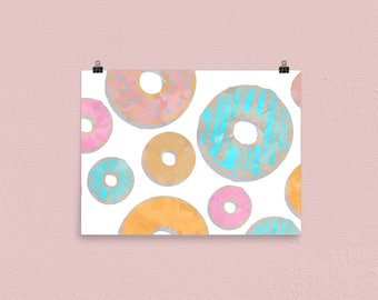 Watercolor Donuts INSTANT DIGITAL DOWNLOAD 20x30