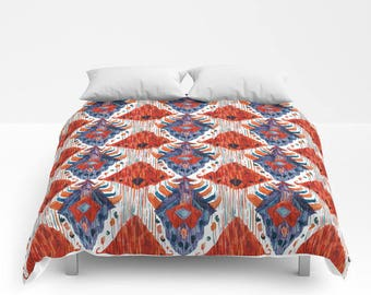 Red Ikat Duvet Cover Red Blue Ikat Comforter Boho dorm bedding red twin xl king queen full ethnic duvet covers tribal print boho duvet cover