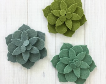 Fancy Flower Layers, 12 pieces - Felt Flowers, Felt Succulents, Die Cut Shapes, Felt Applique, Felt Precuts