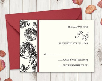 """Black Roses Wedding RSVP Template """"Classic Roses"""". Printable Wedding Response Cards. DIY Rustic Wedding Templates. Instant Download MS Word"""