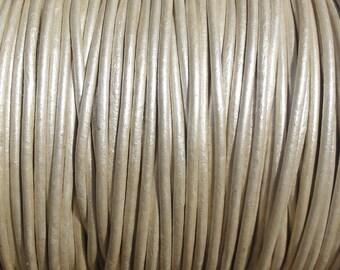 1.5mm Metallic Pearl White Leather Cord  -  2 Yard Increments