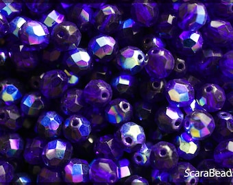 25pcs Czech Fire-Polished Faceted Glass Beads Round 8mm Dark Sapphire AB (8FP024-K)