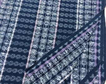 Guatemalan Vintage Cotton Fabric, Indigo, lilac, Blue, pink, and white Boho fabric