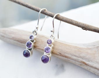 Sterling Silver Amethyst Dangle Earrings, Sterling Silver Amethyst Earrings, Amethyst Jewelry, February Birthstone, Purple Gemstone Earrings