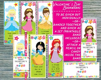 Kids Valentine cards Fairy tale Princess Valentines gift for kids Pencil holder Valentine Bookmarks Classroom School valentines for students